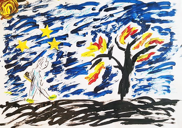 tekening: Mozes en de brandende braamstruik